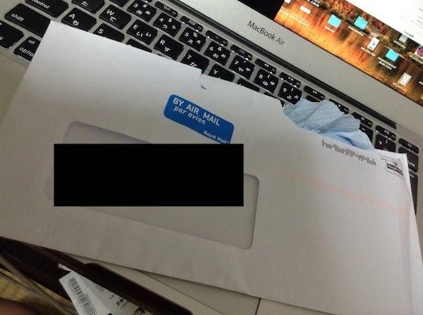 追記。またデビットカードを日本に送ってきてくれた