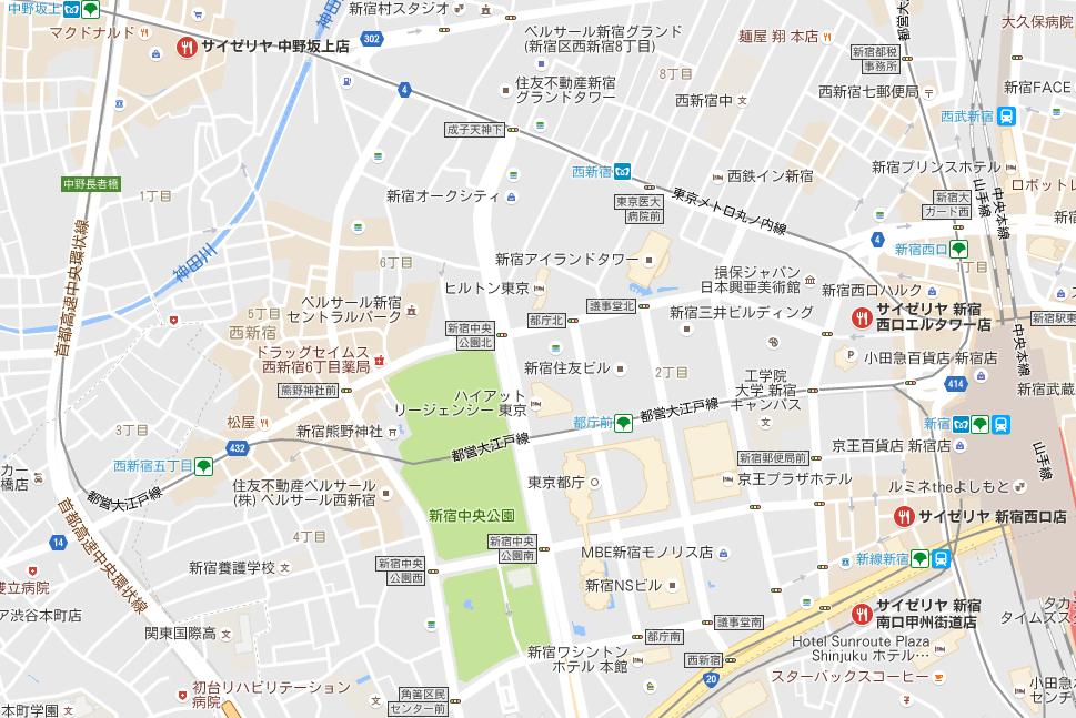 新宿中央公園周辺のサイゼリヤ