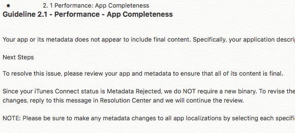 2. 1 Performance: App Completenessでメタデータリジェクト