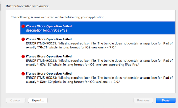 iTunes Store Operation Failed description length:3082432(Xcode)