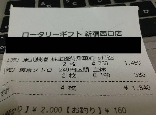 東武鉄道株主優待乗車証と東京メトロ乗車券販売の格安金券ショップ