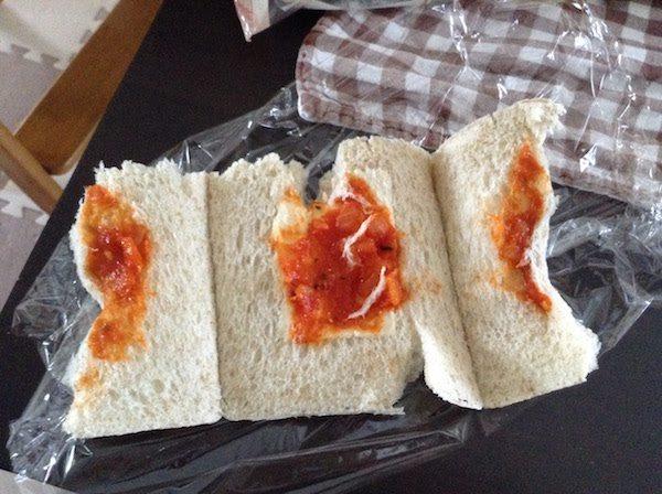 全粒粉スナックサンド(フジパン)トマトのソース&モッツァレラチーズの味・食感等の感想・評価
