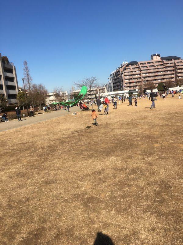桃井はらっぱ公園は広いので凧糸が絡まりにくい